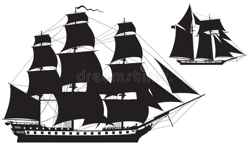 Sailing Ship silhouettes frigate and Schooner. Hip silhouettes, frigate and Schooner vector illustration stock illustration