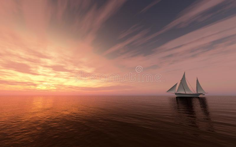 Sailing ship at sunset royalty free illustration