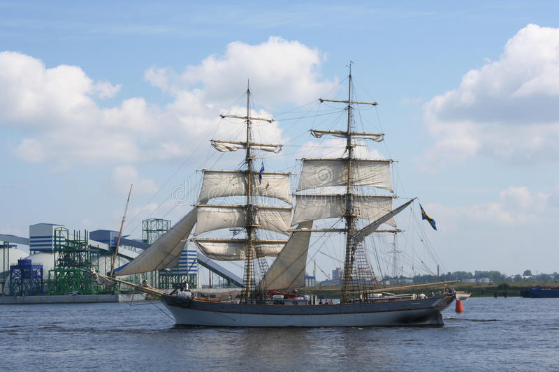 Sailing ship. During tall ship race 2013, Daugava stock image