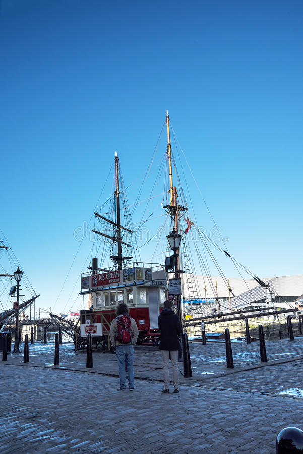Sailing ship or Tall Ship at the Albert Dock in Liverpool in Merseyside in England stock photos