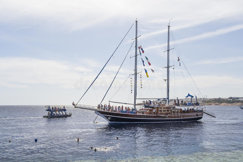 Sailing ship with tourists on board stock photo