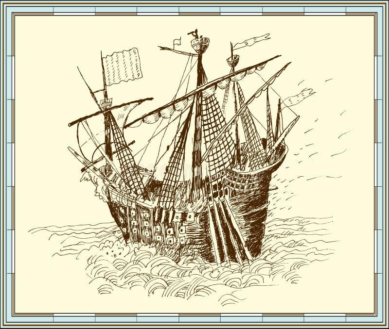 Sailing-ship. Vector Stock Images