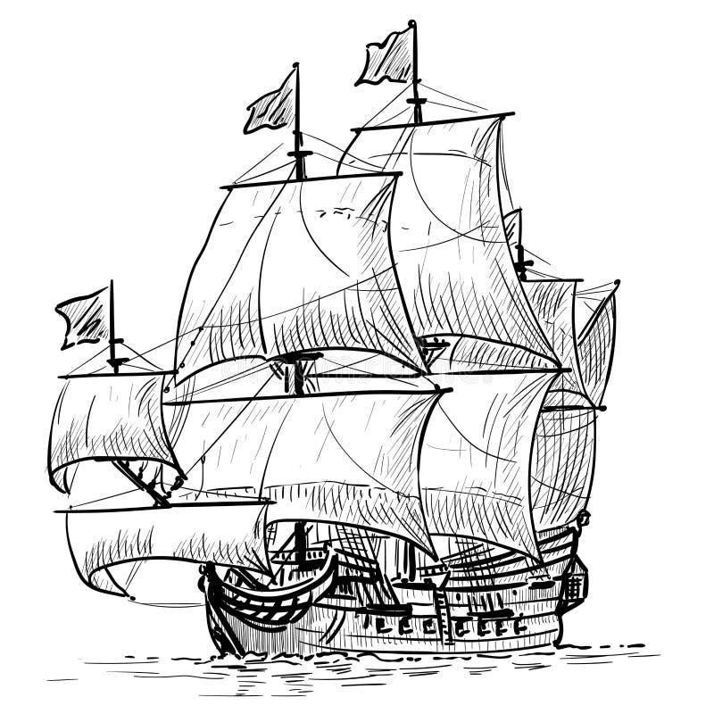 Sailing Ship vintage frigate on the waves. Hand drawn vector illustration. Hand sketch. Illustration. Sailing Ship vintage frigate on the waves. Hand drawn royalty free illustration