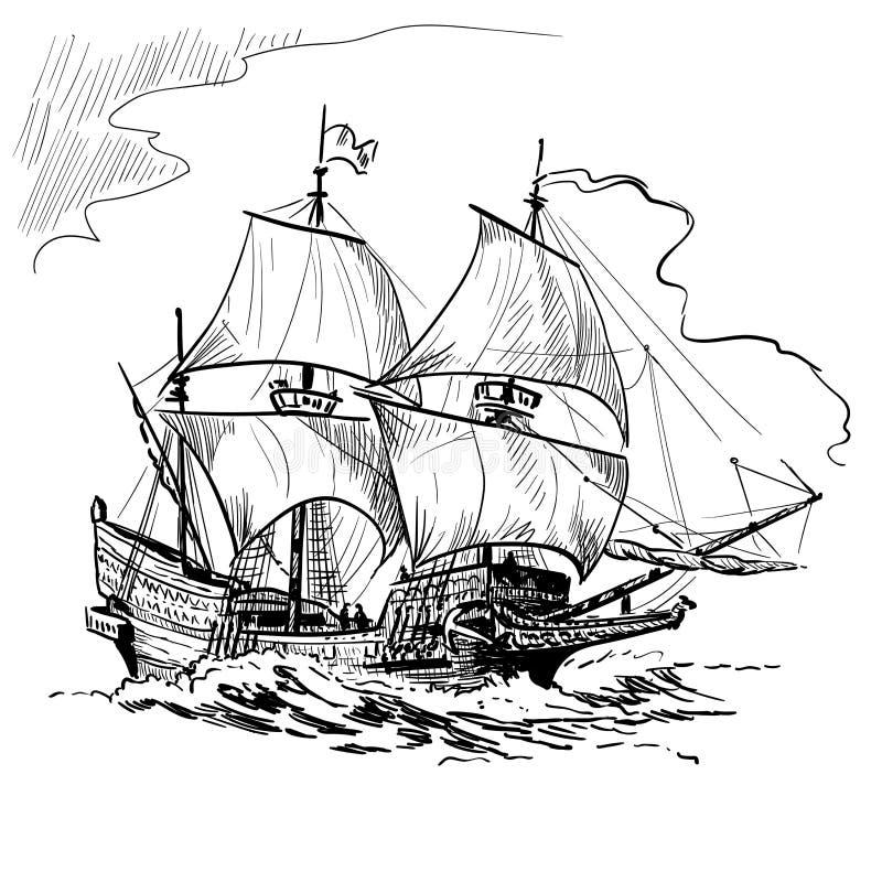 Sailing Ship vintage frigate on the waves. Hand drawn vector illustration. Hand sketch. Illustration. Sailing Ship vintage frigate on the waves. Hand drawn stock illustration