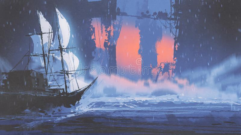Sailing ship on wave of ocean into abandoned city. Digital art style, illustration painting stock illustration