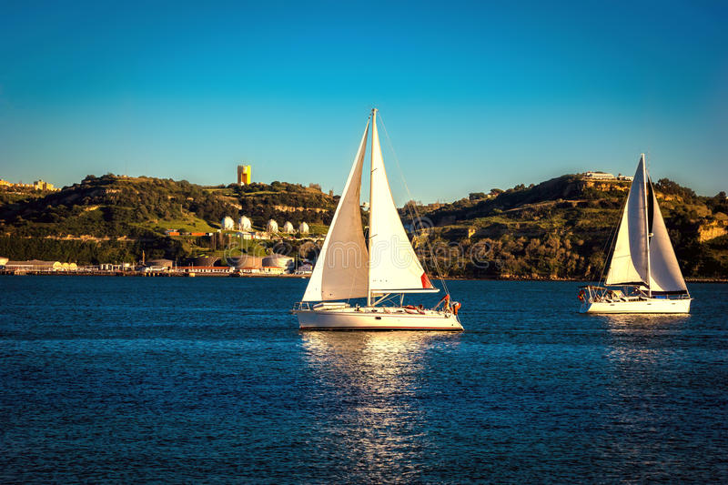 Download Sailing Ship Yachts With White Sails. Lisbon Stock Photo - Image: 83723673