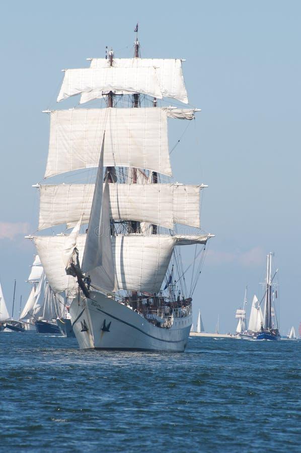 Sailing ships. Traditional sailing ships on the baltic sea near Kiel, Germany stock images