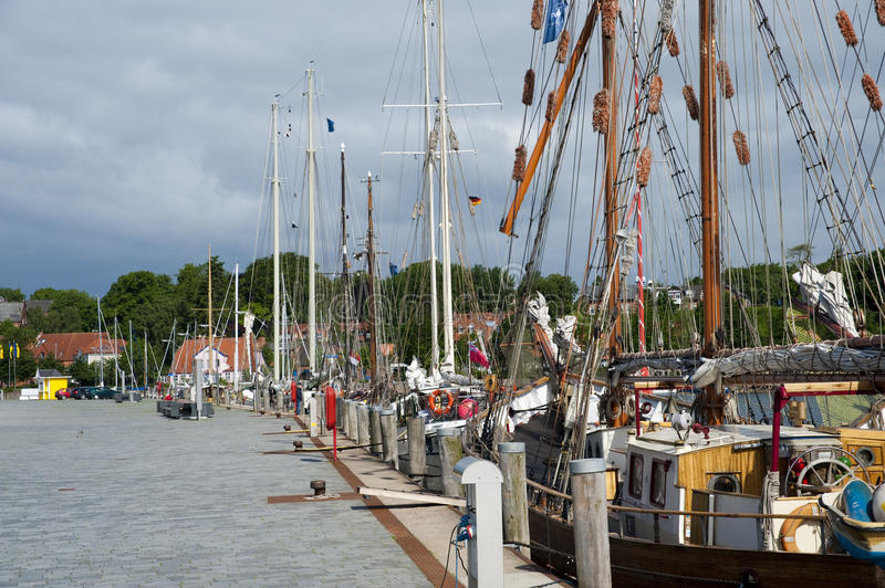 Sailing ships in Eckernfoerde. Sailing ships at the pier in the port Eckernfoerde stock image
