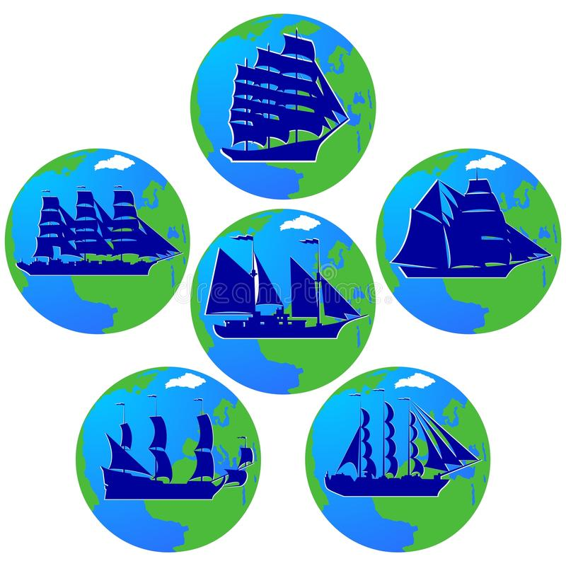 Sailing ships-1. Set of vintage sailing ships in the background of the planet Earth. The illustration on a white background stock illustration