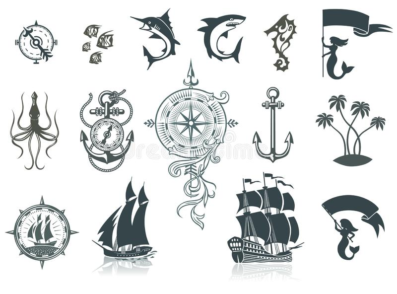 Sailing Ships Silhouettes And Marine Emblems stock illustration