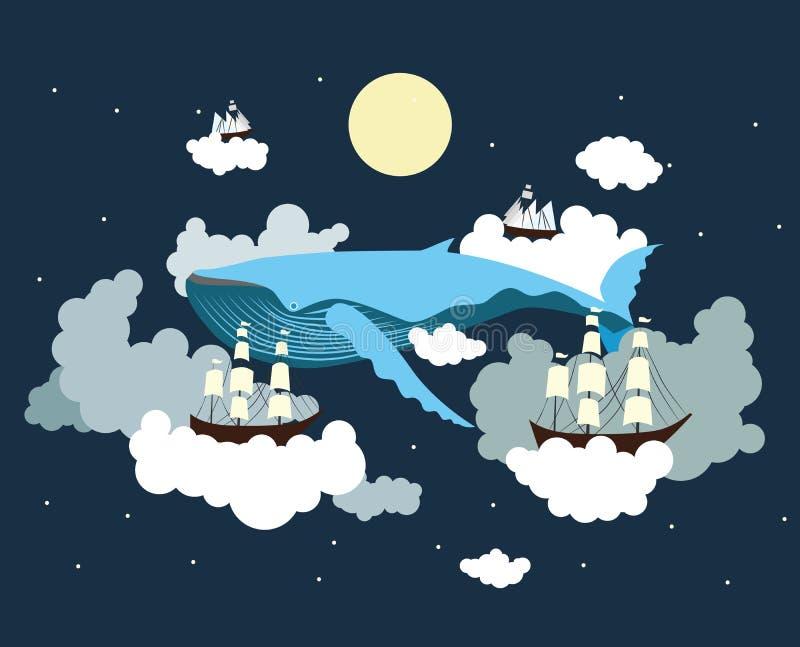 Sailing through the sky. Fantasy, dream, imagination illustration stock illustration