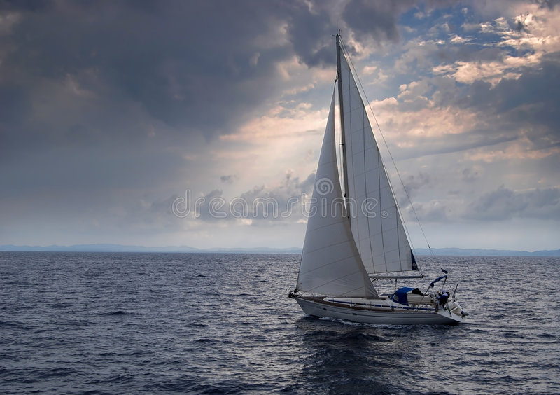 Sailing into a storm royalty free stock photos