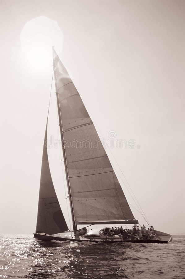 Sailing into the Sun stock photos