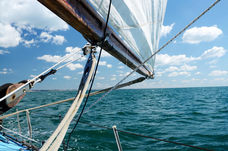 Sailing on a sunny day in Odessa harbour,Ukraine stock photo