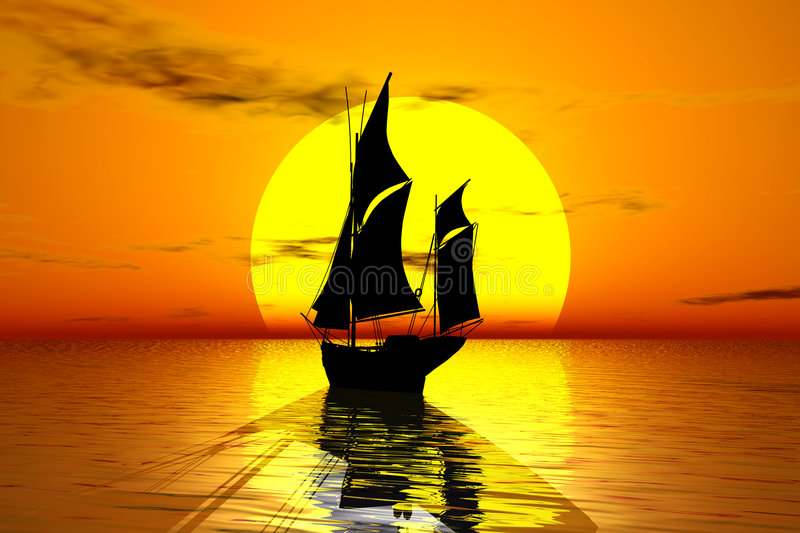Download Sailing into sunset stock illustration. Image of dawn - 1177862