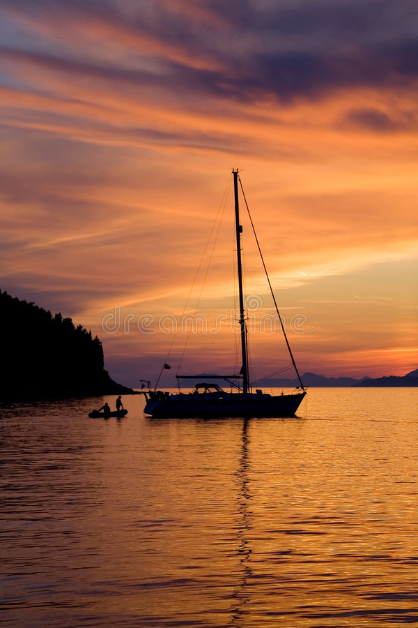 Download Sailing at Sunset stock image. Image of cavtat, gorgeous - 1633427