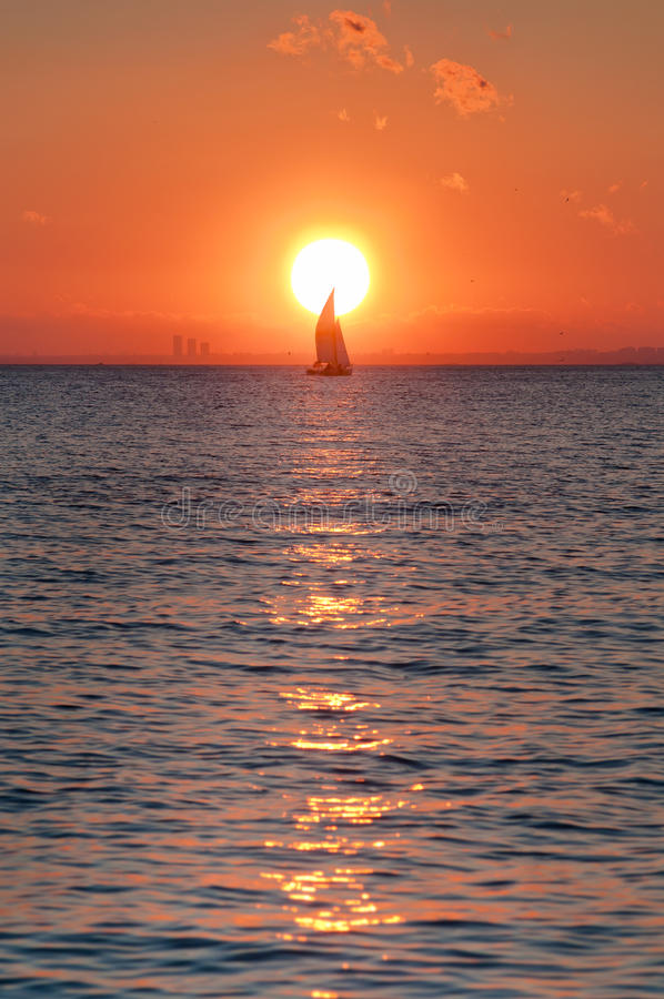 Download Sailing in Sunset stock photo. Image of ship, ketch, huge - 26140662