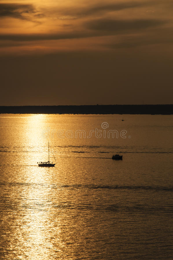 Download Sailing at sunset stock image. Image of water, seascape - 28283395
