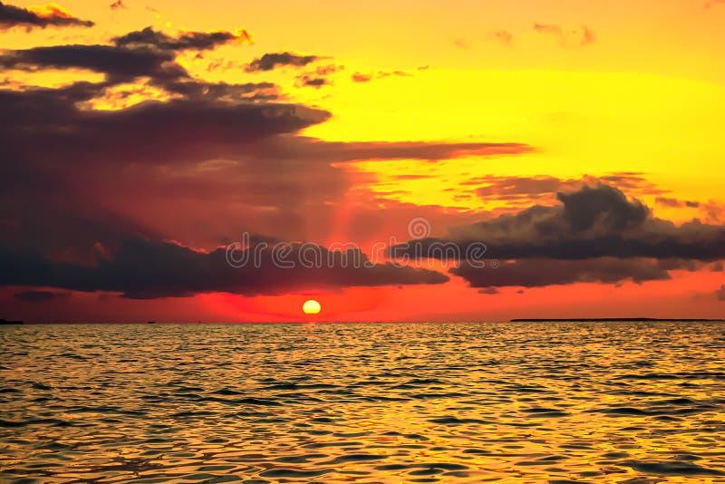SAILING AT SUNSET TROPICAL ISLAND royalty free stock photos