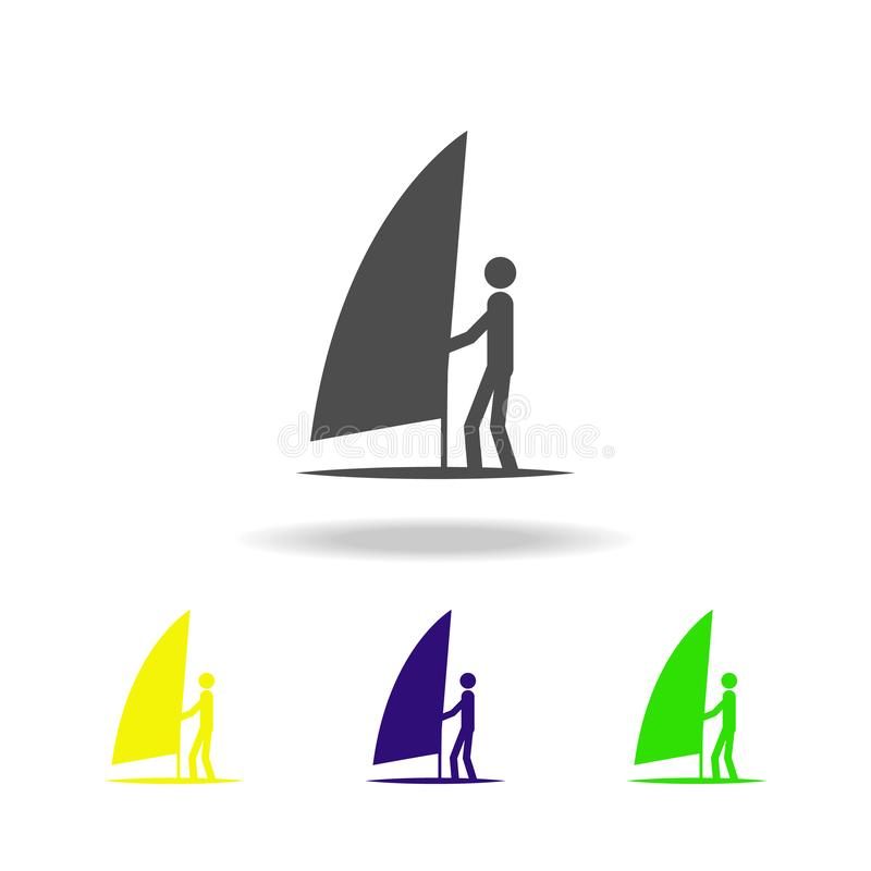 sailing surfing multicolored icons. Element of sport multicolored icons Can be used for web, logo, mobile app, UI, UX stock illustration