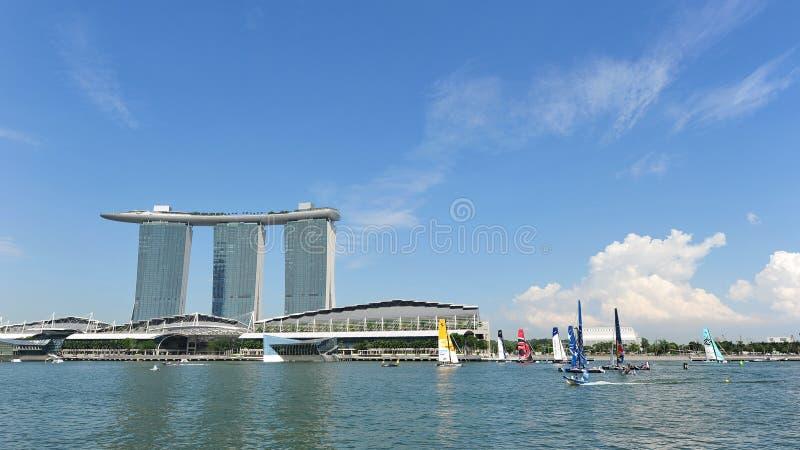 Download Sailing Teams Racing At Extreme Sailing Series Singapore 2013 Editorial Photo - Image of tournament, crew: 30411351