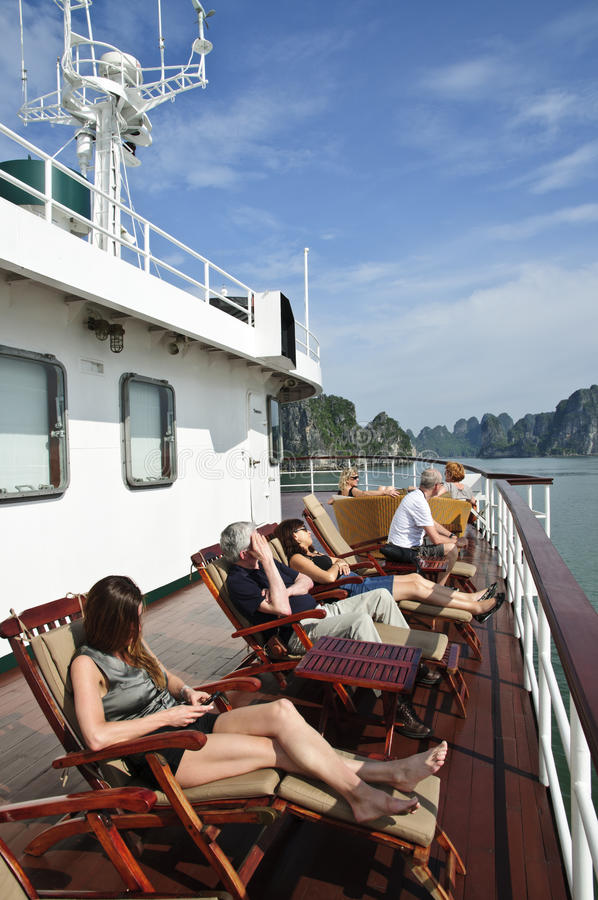 Sailing to Halong Bay royalty free stock images
