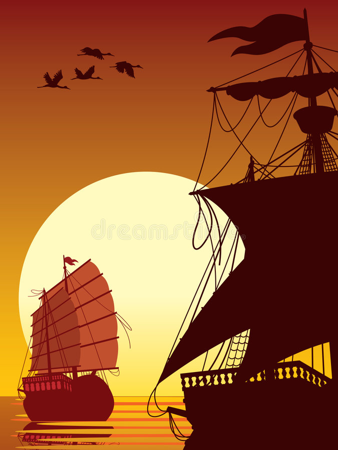 Sailing to the sun. Vector illustration of two ancient ships sailing into the sunset vector illustration