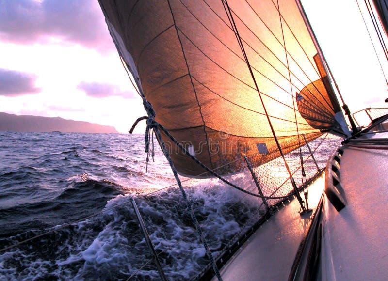 Sailing to the sunrise. During a regatta in Atlantic Ocean