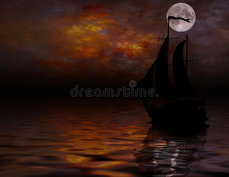 Download Sailing under full Moon stock illustration. Illustration of illustration - 4222758