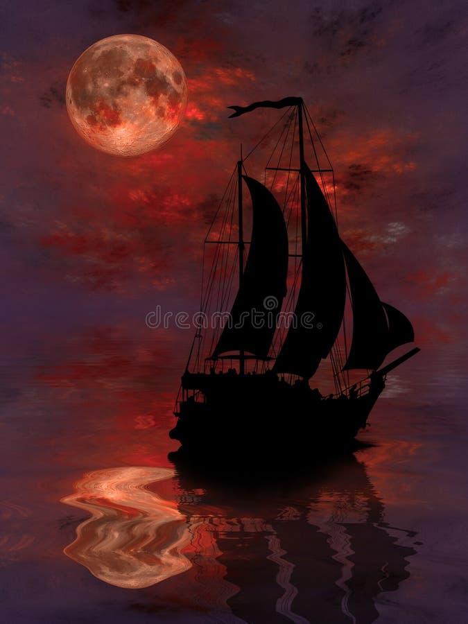 Sailing under full Moon vector illustration