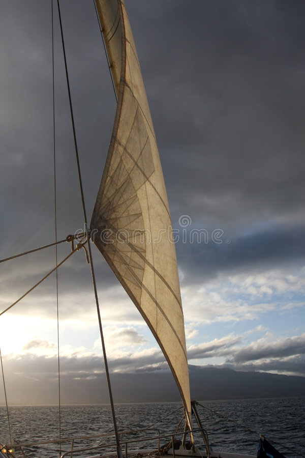 Sailing into unknown weather. A jib sail filled with air as the sun starts to come out of stormy skies royalty free stock images