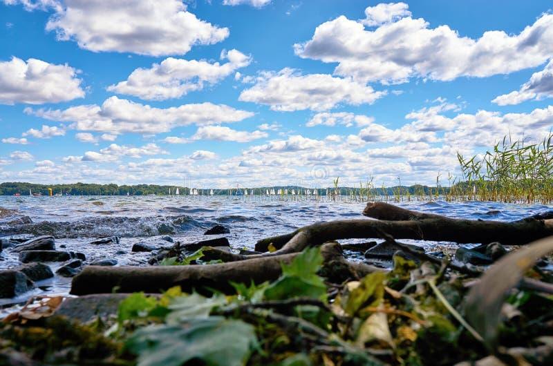 Sailing van het jacht in de herfst op het Schwerin-meer Mecklenburg-Vorpommern, Duitsland royalty-vrije stock foto's
