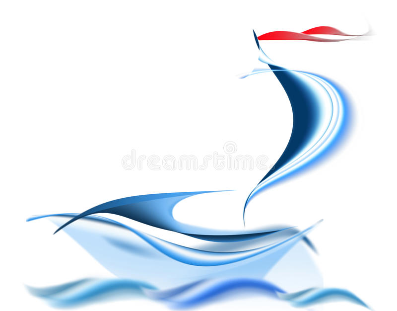 Sailing vessel drawing royalty free illustration