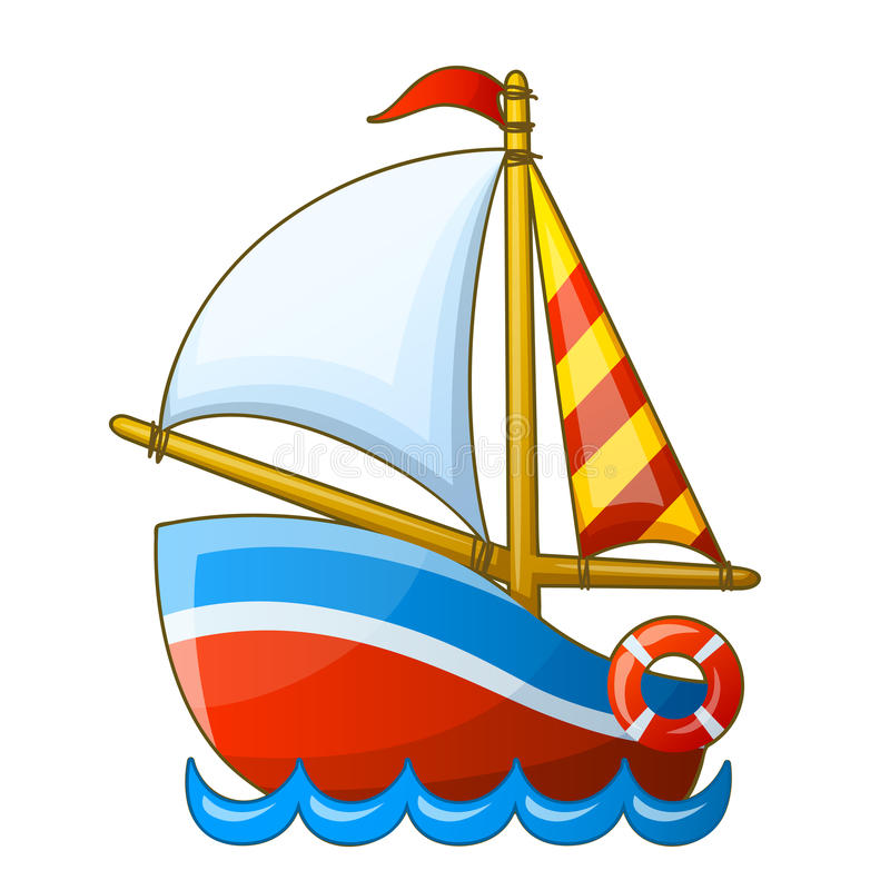 Sailing vessel isolated on white background stock illustration