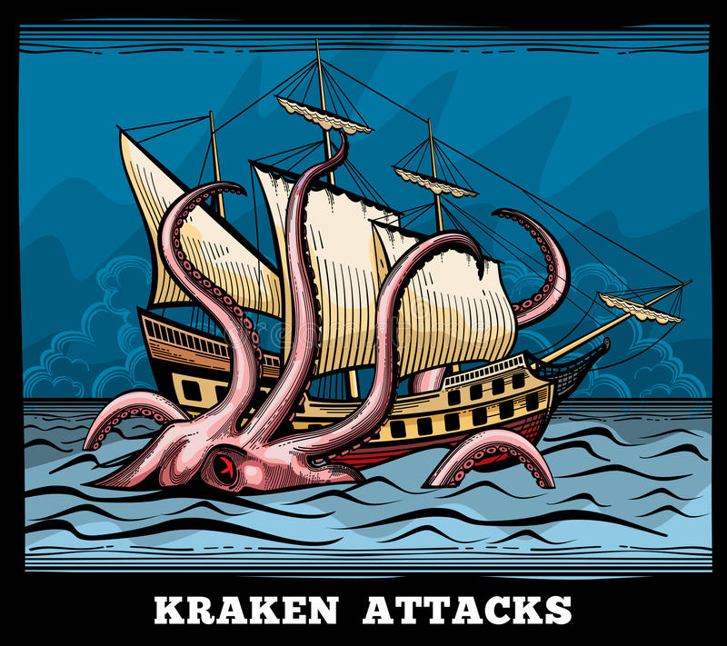 Sailing vessel and Kraken monster octopus vector logo in cartoon style vector illustration