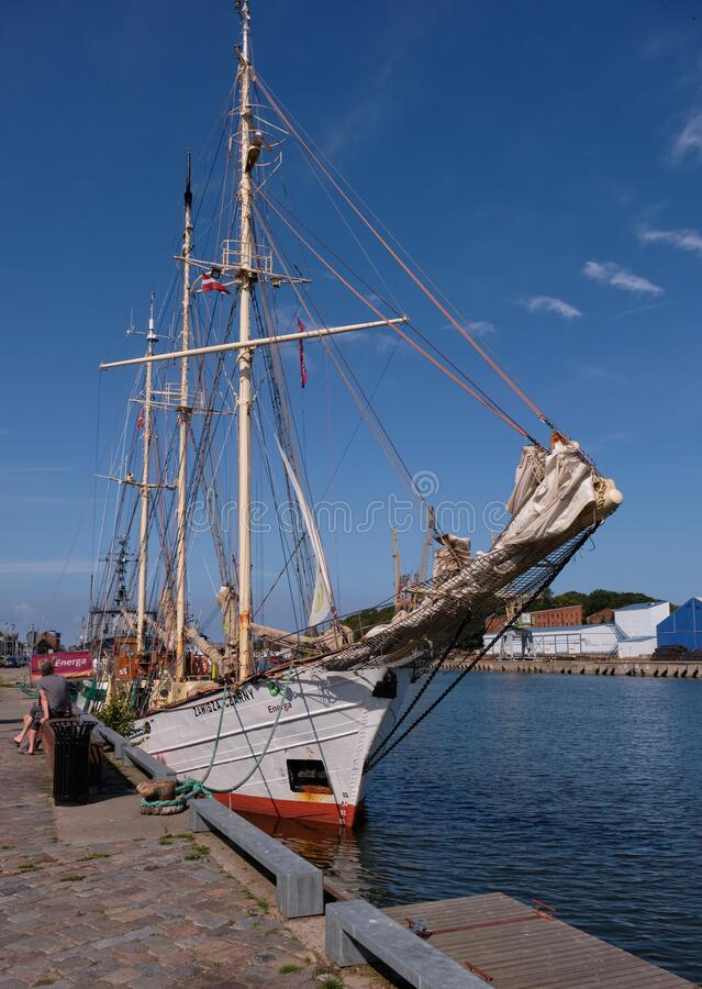 Sailing vessel in Liepaja Harbour royalty free stock photography