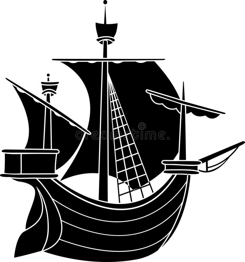 Download Sailing vessel stencil stock vector. Illustration of galley - 18640103
