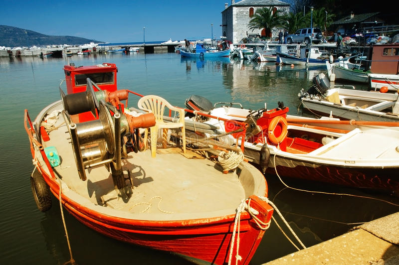Sailing vessels in the harbor of the Thassos. Colorful sailing vessels in the harbor of the Thassos island, Greece royalty free stock photos