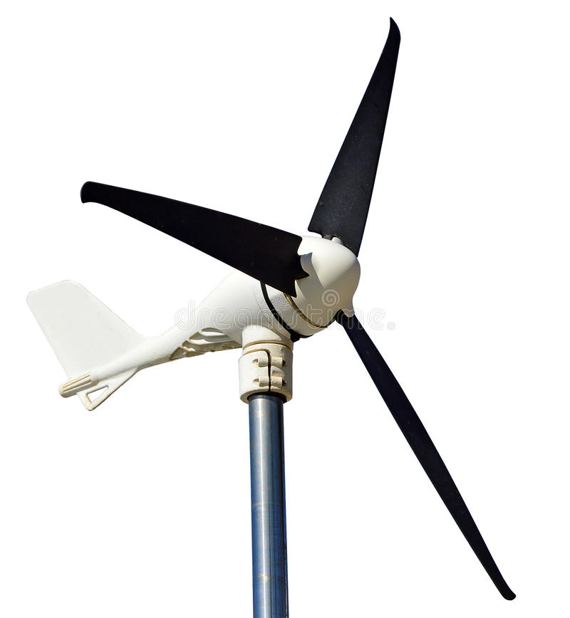 A sailing Wind Generator. Isolated With a Clear Background PNG File Attatched. An electrical windmill used on boats to supply electricity. Isolaterd with PNG royalty free stock image