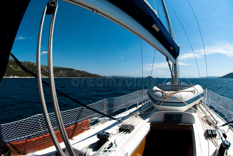 Download Sailing on yacht stock image. Image of vessel, blue, mast - 16196387