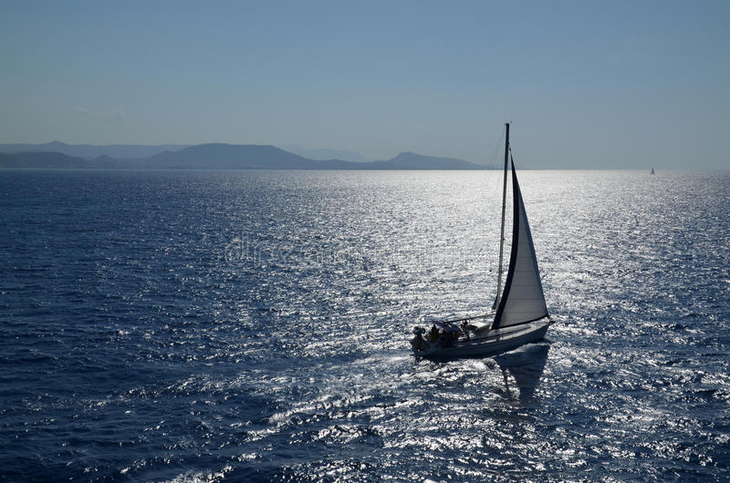 Sailing yacht. And Aegean Sea in Greece stock image