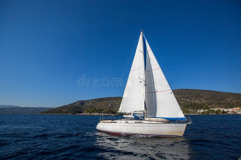Sailing yacht in the Aegean Sea. royalty free stock photography
