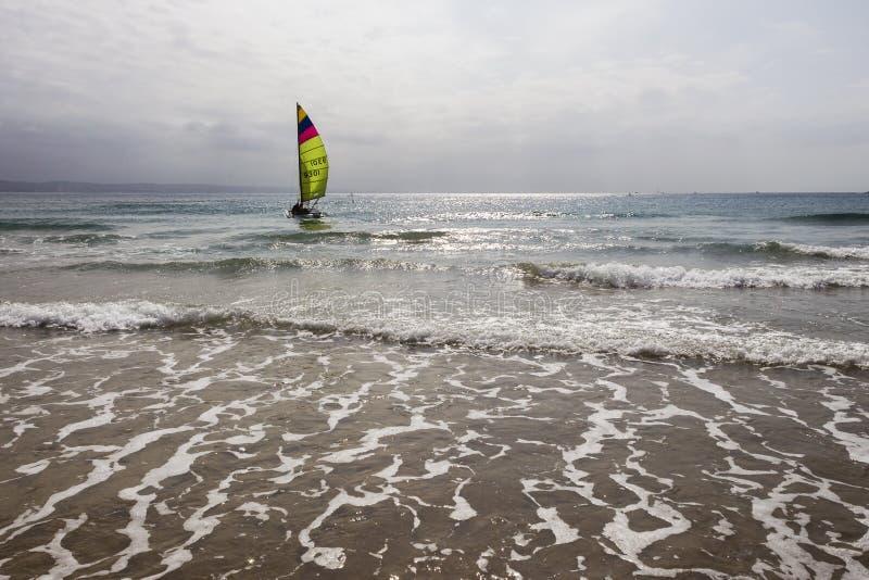 Sailing Yacht Beach Ocean stock photography