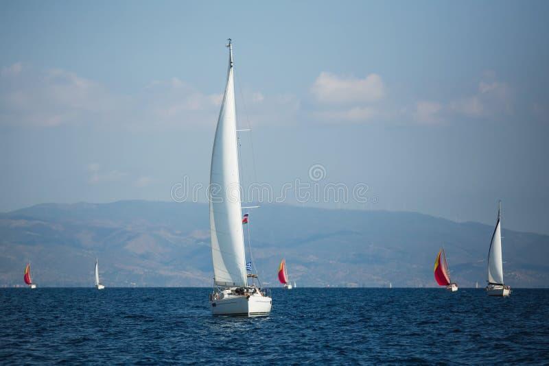 Sailing yacht boat at the Sea near Greece coasts. Sailing yacht boat at the Aegean Sea near Greece coasts stock image