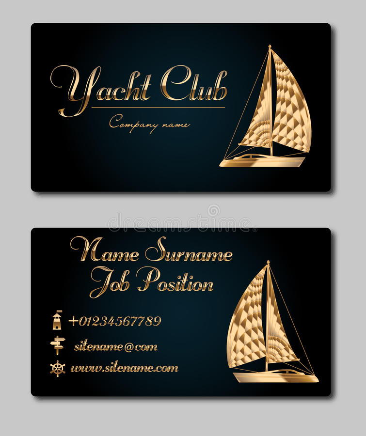 sailing yacht business card template stock illustration