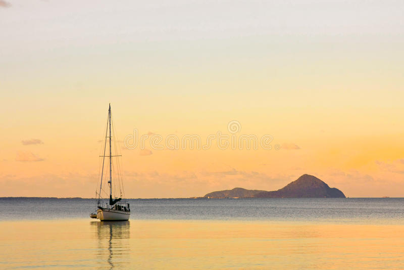 Download Sailing Yacht On Calm Sea At Sunset Stock Image - Image: 25987693