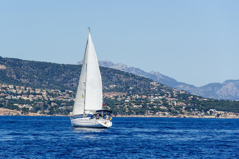 Download Sailing Yacht In Calm Weather Stock Image - Image: 43045517