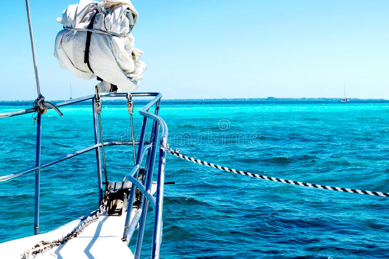 Sailing yacht at caribbean sea royalty free stock photos