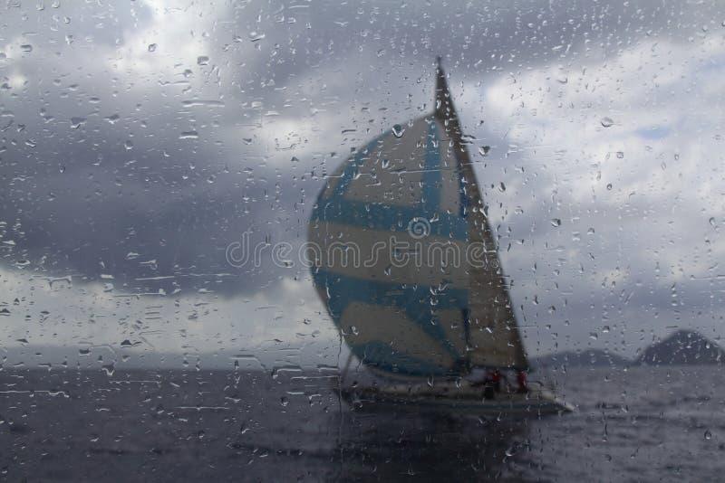 Sailing yacht catamaran sailing in rough sea. Sailboat. Sailing concept. stock photo
