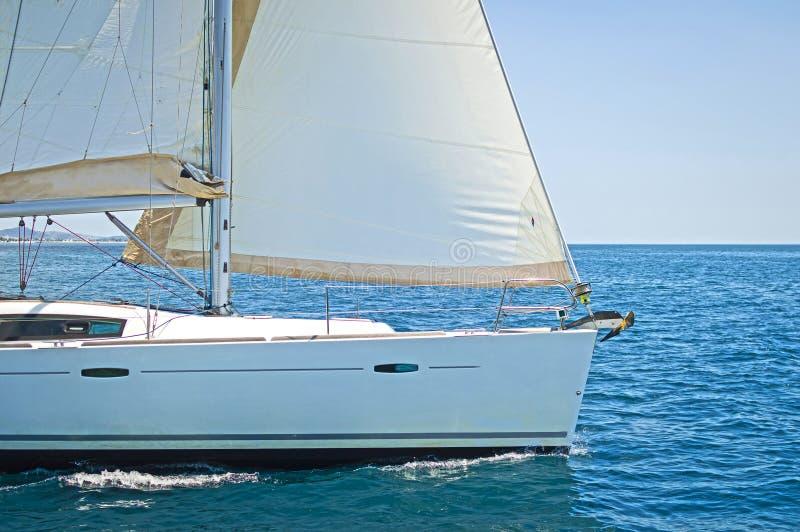 Sailing yacht. Close up of a sailing yacht cruising the aegean sea, Greece royalty free stock photos